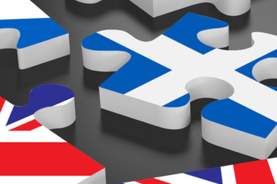 British and Scottish flags on jigsaw pieces